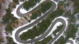 Mountain pass road in winter
