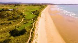 A wonderful flight over Barnbougle sand dunes and