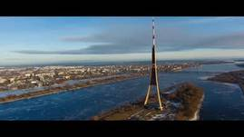 Aerial HD video above two cities of Latvia - Jurma