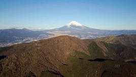 Hakone amongst mountainous Mount Fuji via Drone 4k