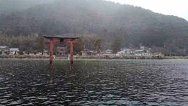 Shirahige Shrine 白鬚神社 - Floating Torii Gate Japan Winter via Drone