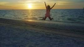 Sunset, Beach, Jump
